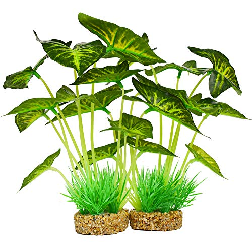 Aquarium Plants Decoration,Artificial Plants for Fish Tank,10 Inches/25cm High,2 Pack