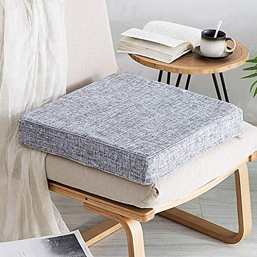 YUMYANY Non-slip Chair Cushion, High Elastic Filling Seat Cushion Breathable Linen Fabric Detachable Cover Suitable for Office Car Home Cushion-45x45cm(18x18inch)-gray