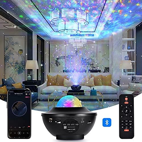 TYCOLIT LED Sternenhimmel Projektor, Galaxy Light Sternenlicht Projektor Nachtlicht mit 360°Drehen Ozeanwellen/Bluetooth Musikspieler/Fernbedienung/Timer Perfekt für Kinder Zimmer Deko,Party, Ostern