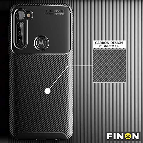 FINON Schutzhülle für Motorola Moto G (thermoplastisches Polyurethan), Karbon-Design, schützt vor Fingerabdrücken und Kratzern, leicht, weich, stoßfest, einfache Desorption, stilvolles Design, Schwarz