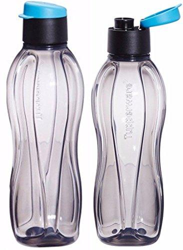 lot-of-2-tupperware-black-flip-top-water-bottle-750-ml-eco-aqua-safe