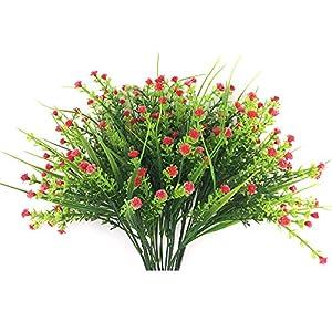 Silk Flower Arrangements Lopkey Plastic Baby's Breath Artificial Flowers Gypsophila Fake Flower Plant,Red 4pcs