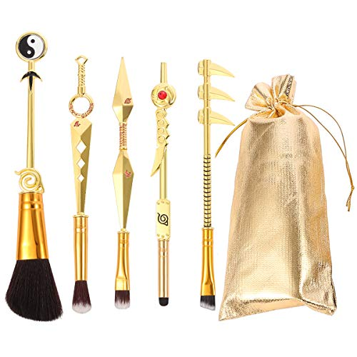 Anime Naruto Makeup Brushes Set with Velvet Gift Pouch Professional Metal Handle Cosmetic Anime Peripheral Kunai Prop Konoha Leaf Village Shinobi Cosplay for Weeb Naruto Fans (Shinning Gold)