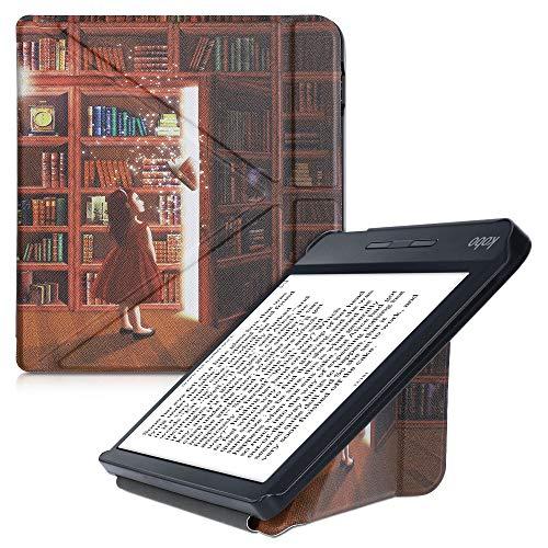 kwmobile Funda Compatible con Kobo Libra H2O - Carcasa magnética de Origami para e-Book - Biblioteca mágica Multicolor