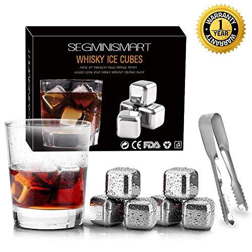 SEGMINISMART Ensemble de Cadeaux Pierre a Whisky, 8 Whisky Pierres en Acier Inoxydable + 1 Pince à Glace