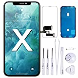 VANYUST for iPhone X Screen Replacement, OLED Display with Touch Screen Digitizer Assembly with Waterproof Frame Adhesive,Sticker Screen Protector and Repair Tools for iPhone X 5.8 inch