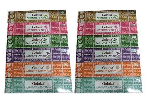 Goloka Boîte de bâtonnets d'encens – Authentique neuf Nature Mélange de couleurs assorties Lot de bâtonnets d'encens 15 g/m² x Lot de 12 boîtes de bâtonnets d'encens Comprend. Goloka Nature's Nest, Goloka Nature's Lavande, d'encens Goloka Nature's Rose, Goloka Nature's, méditation, Goloka Nature's parijatha, bâtonnets d'encens Goloka Nature's Basilic. Lot de 2 packs de chaque 6 parfums différents