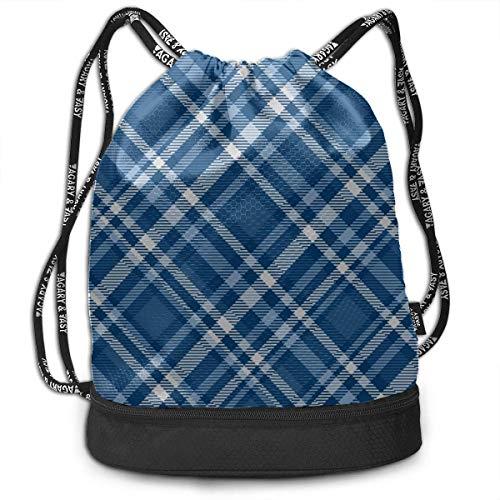 OKIJH Mochila Mochila de ocio Mochila con cordón Mochila multifuncional Bolsa de gimnasio Sport Gym Bag For Women Blue Tartan Plaid Pattern Style Gym Drawstring Bags Backpack Sports String Bundle Back