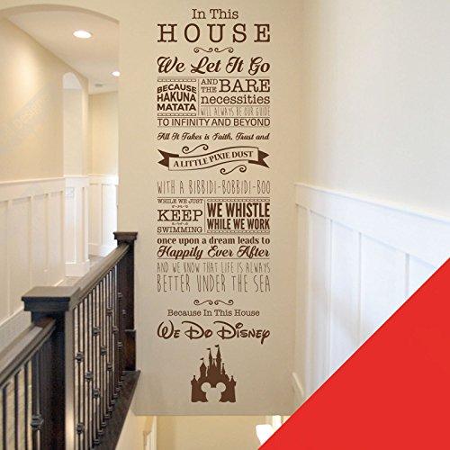 Sticker mural avec inscriptions en anglais tirées de films de Disney pour chambre d'enfant ou salle de jeux - La Fée Clochette, Toy Story, la Petite Sirène, Le Roi Lion, coquelicot, Large (1520 x 435mm)