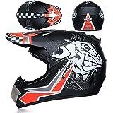 JWL Motocross Enduro MTB Casco Road Racing Casco con máscara y guantes, Adultos Niños Unisex Motocicleta Cross Casco Niños Off Road Casco (Negro Rojo Sprint, XL)