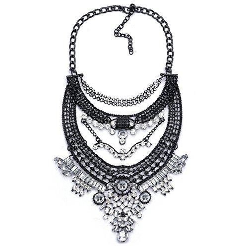 QXLDM Frauen Schmuck Halskette Necklaces halsketten Legierung galvanisiert voller Bohrer schwarz Schlüsselbein Halskette b
