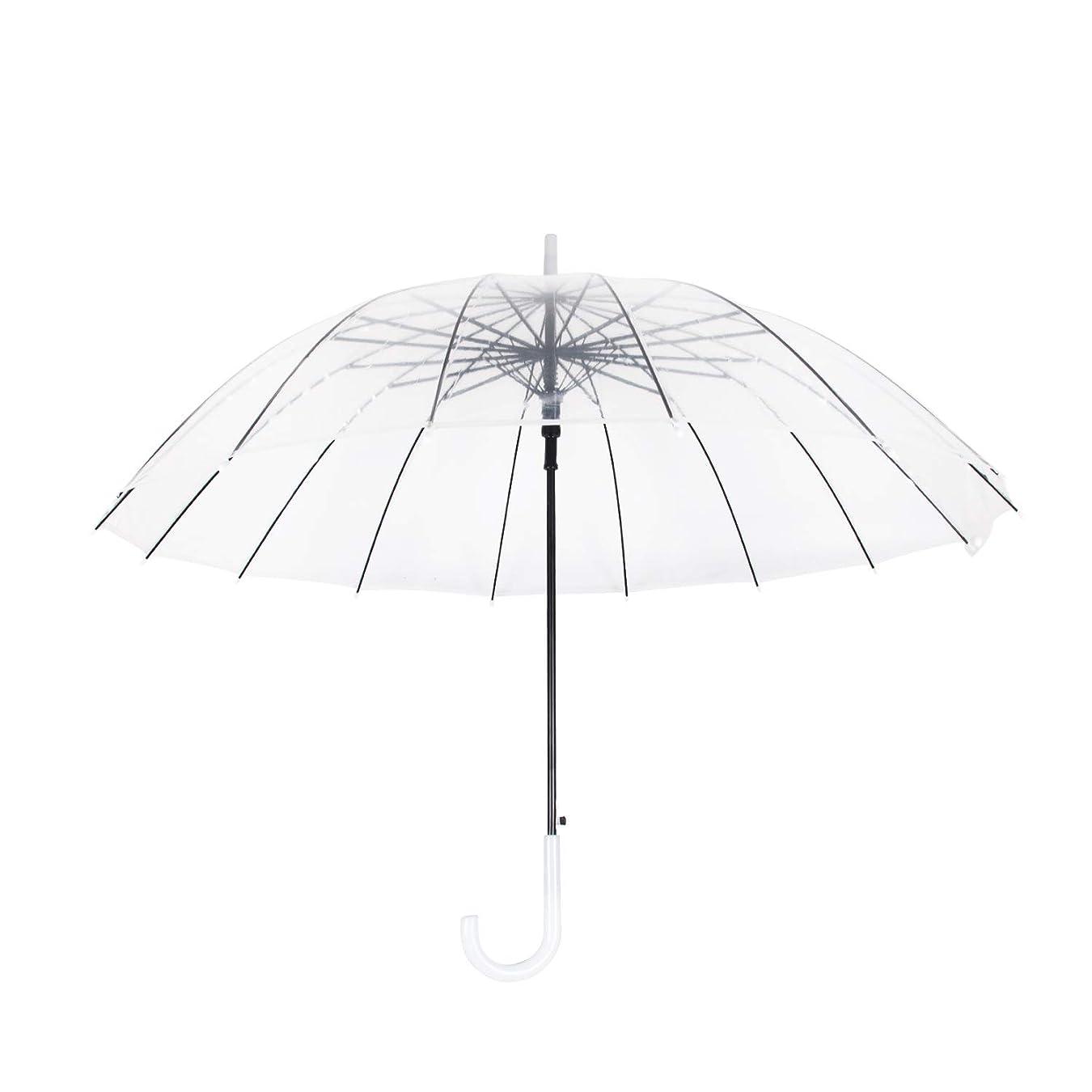 週末幸運恐ろしいMengshen 透明長傘 見通し ジャンプ式 丈夫 耐風 軽量 16本骨 男女兼用 KS10White