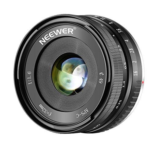 Neewer 32mm F / 1.6 Manueller Fokus feste Objektiv Scharfe Hohe Blende, Kompatibel mit Sony E-Mount APS-C Spiegellose Kamera