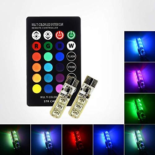 Safego Newest 2PCS T10 W5W Luz de La Lámpara de La Atmósfera del Coche Con Control Remoto de Rayos Infrarrojos RGB W5W LED...