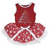 Petitebelle Rhinestone Christmas Tree Cotton Shirt Tutu Puppy Dog Dress (Red/Red Snowflakes, Small)