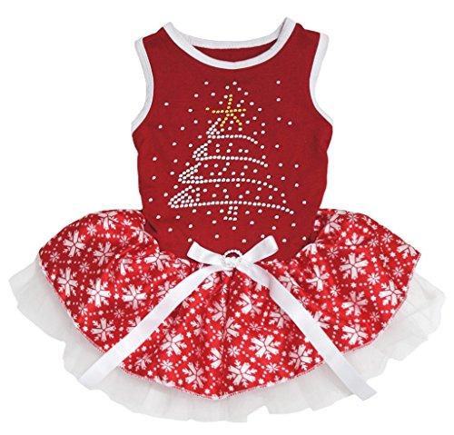 Petitebella Rhinestone Christmas Tree Puppy Dog Dress (Red/Red Snowflakes, Medium)
