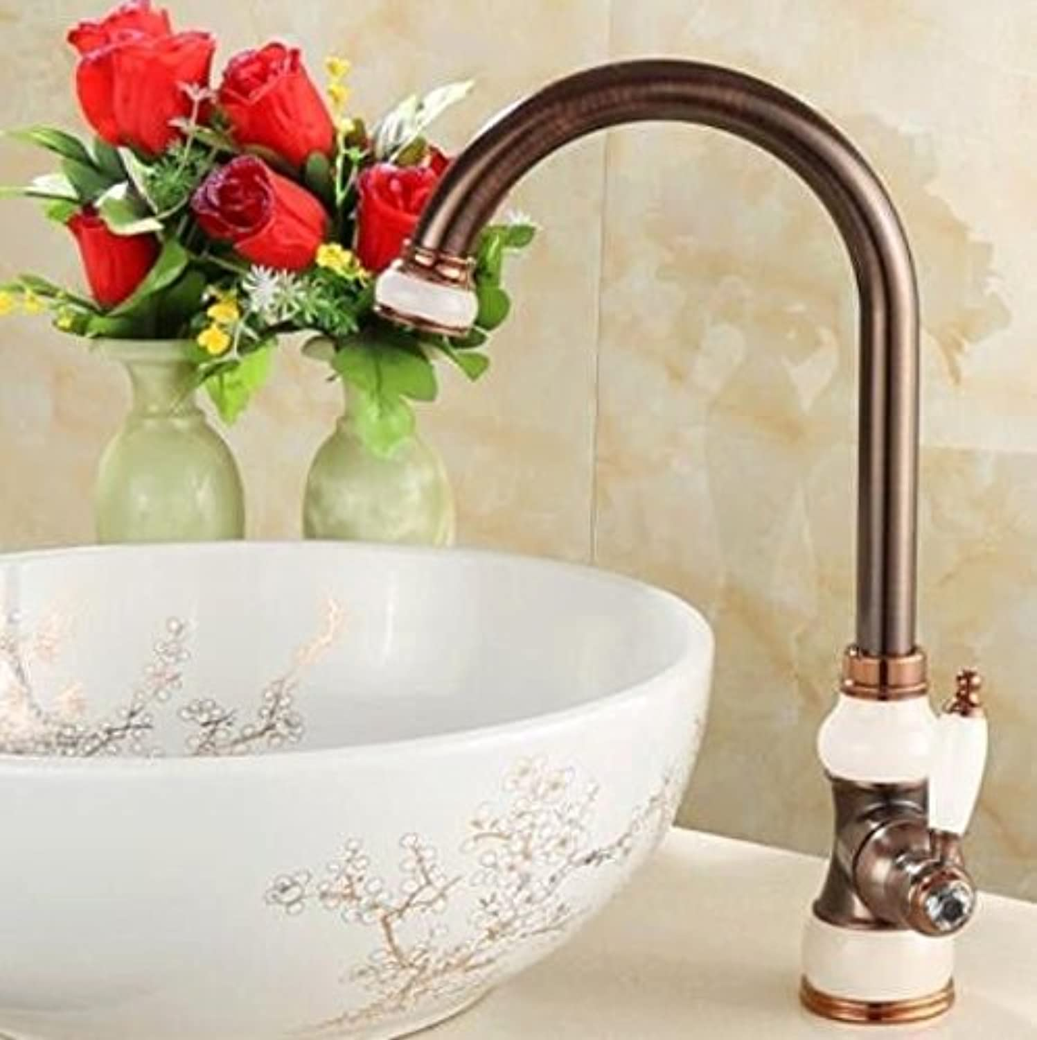 Decorry American Natural Jade, All Copper Stand, Basin, Cold, Hot Water Faucet, Brown Bronze, Antique European Kitchen Sink, Kitchen Faucet,C