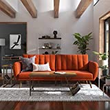 Novogratz Brittany Sofa Futon - Premium Upholstery and Wooden Legs - Persimmon Orange
