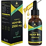 Premium Natural Hemp Oil Drops (30ml) from Seeds - Made in UK, Vegan, Fresh Mint Flavour, Omega 3-6-9, 3 Months Supply