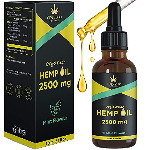 Hemp Seed Oil   Made in The UK   Omega 3, 6, 9, Vitamins A, C, D, E   3 Months Supply   Mint Flavour