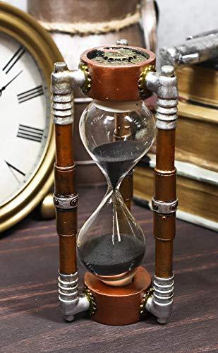 Ebros Gift Past Present and Future Sleek Steampunk Gearwork Clockwork Gadgets Sandtimer with Black Sands Figurine Victorian Industrial Sci Fi Sand Timer