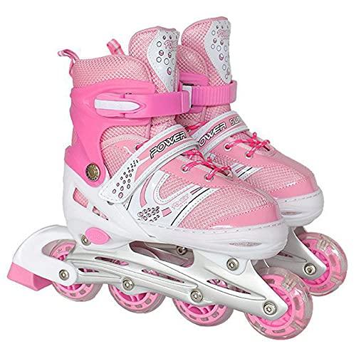 Profesional Niños Patines en línea Niños Patines Ajustable Patines Patines Niños Niña Zapatos Combo Set Single Flash,Rosa,M