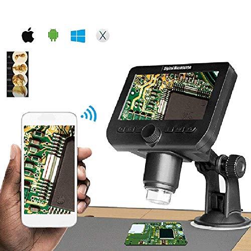 WHYTT Microscopio Digital USB Pantalla LCD de 1000 X 4.3 1080P / VGA 8 LED con Soporte para Herramienta de Soldadura de reparación de PCB/con batería de Litio Microscopios Digitales 20x-300x