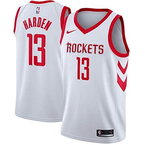 Lalagofe James Harden, Houston Rockets #13, Basket Jersey Maglia Canotta, Bianca, Maglia Swingman Ricamata, Stile di Abbigliamento Sportivo (L)