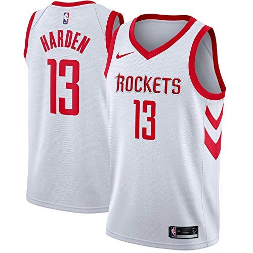 Lalagofe James Harden, Houston Rockets #13, Basket Jersey Maglia Canotta, Bianca, Maglia Swingman Ricamata, Stile di Abbigliamento Sportivo (XL)