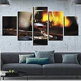 IIIUHU 5 Piezas Cuadro sobre Lienzo De Fotos Vidrio Vino Tinto Restaurante Bar Luces Lienzo Impresión Cuadros Decoracion Salon Grandes Cuadros para Dormitorios Modernos Mural Pared Listo para Colgar