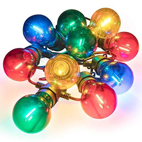 Nipach GmbH LED Partylichterkette Partybeleuchtung Lichterkette für Weihnachten Hochzeit Kindergeburtstag – 10 Glaskugeln mit Trafo – innen & außen – bunt