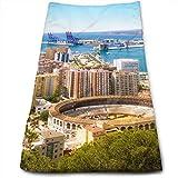 Vista aérea de Málaga con Plaza de toros y Puerto España Tradicional Ciudad Europea Toalla de Mano, Toalla de Viaje, Toalla de baño, Toallitas Muy absorbentes Toallas Multiusos 70x30 cm
