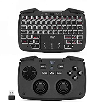 Backlit Version Rii RK707 3 in 1 Multifunctional 2.4GHz Wireless Portable Game Controller 62-Key Rechargeable Keyboard Mouse Combo Turbo Vibration Function for PC/Raspberry pi2/Android TV Google/TV B
