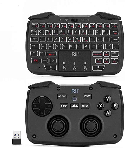 (Backlit Version)Rii RK707 3 in 1 Multifunctional 2.4GHz Wireless Portable Game Controller 62-Key Rechargeable Keyboard Mouse Combo Turbo Vibration Function for PC/Raspberry pi2/Android TV Google/TV B