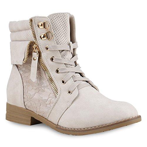 stiefelparadies Damen Stiefeletten Schnürstiefeletten Leder-Optik Schuhe Spitzenstoff Boots Zipper Schnürboots 130897 Creme Spitze 38 Flandell