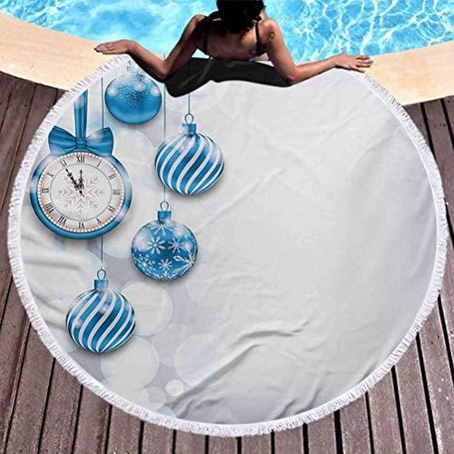 Manta de Playa Reloj Toalla de Playa para Mujer Tema de año Nuevo con un Reloj y Bolas de Cristal Ilustración Patrón de celebración navideña con Borla, Alta solidez de Color Azul (diámetro 59 ')