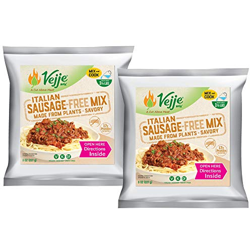 Vejje Meat-Free Mixes - ITALIAN SAUSAGE-FREE MIX (2-Pack) (Two 8oz Bags, Each Bag Makes 1.5 lbs for 3 lbs Total) Plant-Based Meat Alternative for Everything: Pasta Sauces, Pizza, Gravy, Patties & More