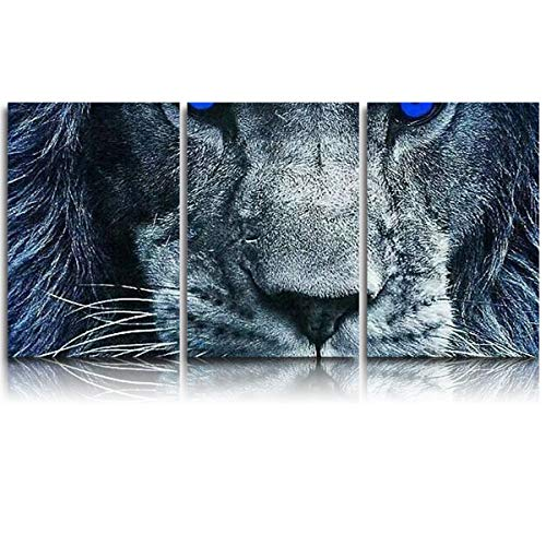 3 Piece Modern Wall Art Living Room Decor - Blue Eyed Lion Canvas Picture for Dining Room Bathroom, Giclee Canvas Ready to Hang, Prints Wall Art with Framed, 16x24inx3