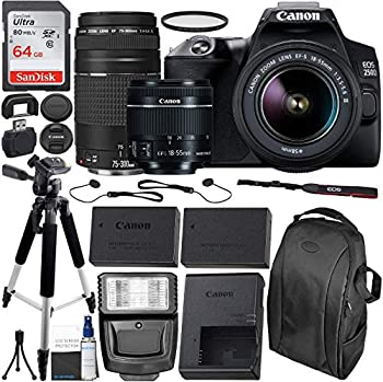 Canon EOS 250D  Rebel SL3  DSLR Camera with 18-55mm & 75-300mm Canon Lenses & Essential Accessory Bundle – Includes  64GB SDXC Memory Card Extended Life Spare Battery Photo Backpack & More