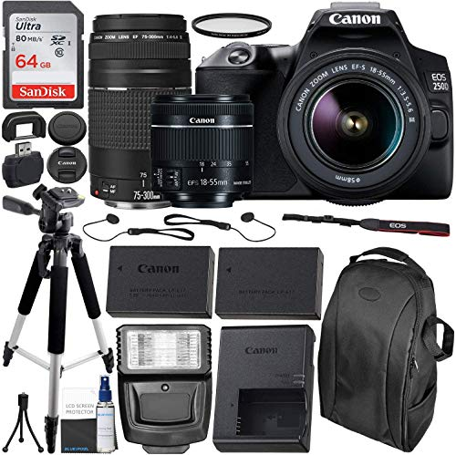 Canon EOS 250D (Rebel SL3) DSLR Camera with 18-55mm & 75-300mm Canon Lenses & Essential Accessory Bundle – Includes: 64GB SDXC Memory Card, Extended Life Spare Battery, Photo Backpack & More