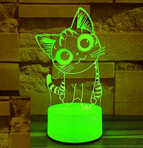 3D LED lámparas Gato ilusion optica luz de noche 7 colores Contacto Arte Escultura luces con cables USB Lampara Decoracion Dormitorio escritorio mesa para niños adultos