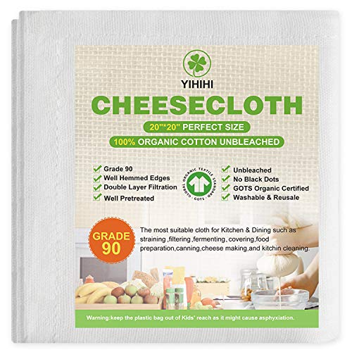 Yihihi Cheesecloth, 100% Organic Cotton Cheese Cloths for Straining, Double Layer, Grade 90 Unbleached, 20 x 20 Inch Hemmed Edges, Reusable Ultra Fine Muslin Cloth Filter for Cooking, Nut Milk Strain.