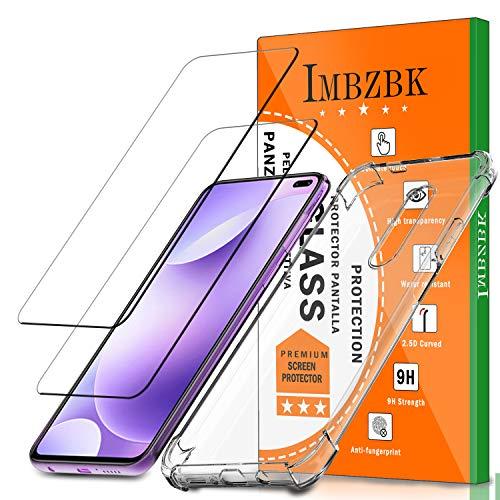IMBZBK [2 Pack] Compatible con Protector Pantalla Xiaomi Poco X2 Cristal Templado, Funda Xiaomi Poco X2, [Anti-Huella Digital][HD Clarity], con Funda de TPU Transparente - Transparente