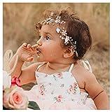 SWEETV Blume Mädchen Haarreife Roségold Prinzessin Hochzeit Haarbänder - Baby Mädchen Blume Perle Zubehör für Haare für Geburtstag Party, Fotografie