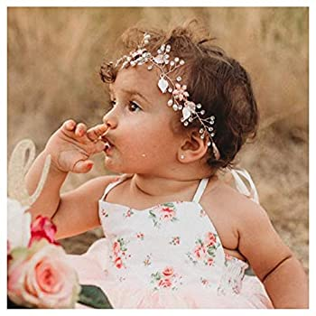 SWEETV Flower Girl Headband for Wedding Baby s Breath Hair Piece Rose Gold Headpiece for Birthday Party Photography