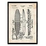 Nacnic Poster con Patente de Tabla de Surf. Lámina con diseño de Patente Antigua en tamaño A3 y con Fondo Vintage