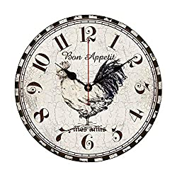 EnjoyHome Bon Appetit Rooster Chicken Non-Ticking Large Wall Clock Decorative French Country Wood Hanging Clock 16 inch