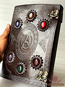 Infinity Stone Gauntlet Embossed Vintage Leather Journal Writing Diary Avengers Sign Book of Shadow Thanos Gauntlet Celtic Blank Notebook Unlined Personal Notebook 7 x 10 Inch
