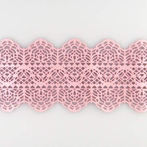 Coximus gebrauchsfertige essbare Spitze für filigrane Spitzen-Deko von Torten | 38 x 7,5 cm fertige Zucker-Spitze in der Farbe Rosa | hochwertiges elastisches Icing fertig zum Gebrauch | Sweet Lace
