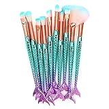 Makeup Brush Set 10 Pcs Fish Tail Eye Makeup Brushes, Eyeshadow Concealer Eyeliner Brow Blending Brush Tool(Colorful Mermaid Handle)